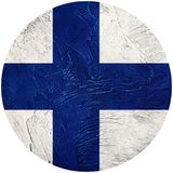 Grunge Finland flag. Finland button flag Isolated on white backg. Round. Button flag Royalty Free Stock Photo