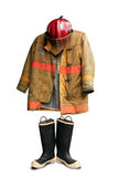 Grunge fireman suit stock photography