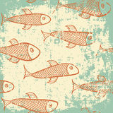 Grunge fish. Fish pattern in grunge style Stock Photography