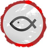 Grunge fish sign Royalty Free Stock Photo