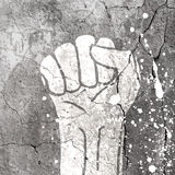 Grunge fist illustration on concrete texture. With white splashes. Vector Stock Photo