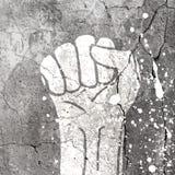 Grunge fist illustration on concrete texture Stock Photo