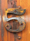 Grunge five. Grungy number five affixed to rusty industrial metal Royalty Free Stock Photo