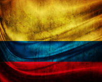 Grunge flag Colombia. With folds vector illustration
