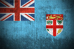 Grunge Flag Of Fiji. Weathered Flag Of Fiji, fabric textured Stock Photo