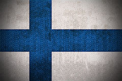 Grunge Flag Of Finland. Weathered Flag Of Finland, fabric textured Royalty Free Stock Photography
