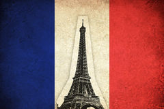 Grunge Flag of France with Eiffel Tower Royalty Free Stock Photos