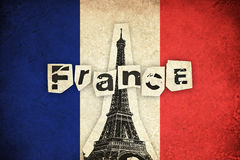 Grunge Flag of France with Eiffel Tower Royalty Free Stock Photo