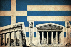 Grunge Flag of Greece with monument Stock Image
