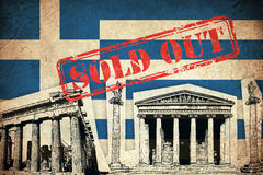 Grunge Flag of Greece with monument Royalty Free Stock Images