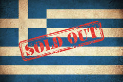 Grunge Flag of Greece with monument Stock Photo
