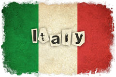 Grunge Flag of Italy with text Royalty Free Stock Photography