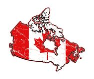 American Flag.Canada grunge flag-map. Worn and aged flag map of Canada to print on a t-shirt or as a background.Design the flag of Canada royalty free illustration