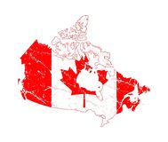 American Flag.Canada grunge map. Worn and aged flag map of Canada to print on a t-shirt or as a background.Design the flag of Canada.n royalty free illustration