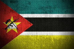 Grunge Flag Of Mozambique. Weathered Flag Of Mozambique, fabric textured Stock Photo