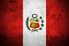 Grunge Flag Of Peru. Weathered Flag Of Peru, fabric textured Royalty Free Stock Photo