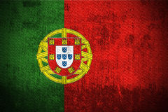 Grunge Flag Of Portugal. Weathered Flag Of Portugal, fabric textured Royalty Free Stock Photography