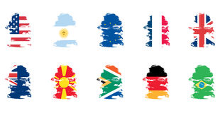 Grunge flag set Royalty Free Stock Images