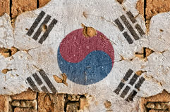 Grunge Flag Of South Korea. Flag of South Korea on the old wall cement royalty free stock photos