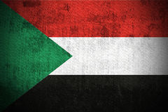Grunge Flag Of Sudan. Weathered Flag Of Sudan, fabric textured Royalty Free Stock Photography