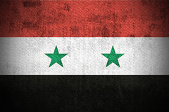 Grunge Flag Of Syria. Weathered Flag Of Syria, fabric textured Royalty Free Stock Images