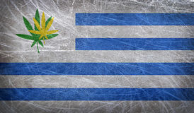 Grunge flag of Uruguay with a cannabis leaf Stock Photo