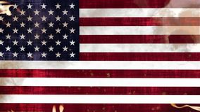 Grunge Flag of USA in Fire. And Waving in the Wind - 4K Animation stock video