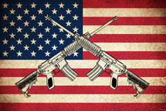 Grunge Flag of USA with guns. Grunge Flag of USA / United states of America country with guns Royalty Free Stock Photo