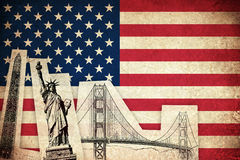 Grunge Flag of USA with monuments Royalty Free Stock Image