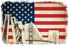 Grunge Flag of USA with monuments Royalty Free Stock Photography