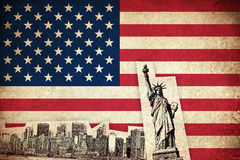 Grunge Flag of USA with monuments Stock Images