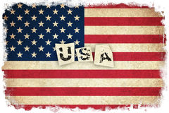 Grunge Flag of USA with text Stock Image