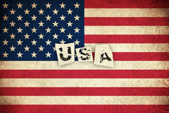 Grunge Flag of USA with text Royalty Free Stock Image