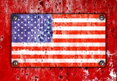 Grunge flag on wall. Abstract retro background Royalty Free Stock Photo