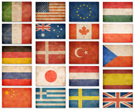 Grunge flags: USA, Great Britain, Italy, France, Denmark, German Stock Images