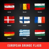 Grunge Flags Vector Set. Collection of some of european flags illustrated in grunge style. Dirty paint brush art european flags Royalty Free Stock Image