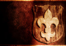 Fleur-de-lis - floral symbol. Fleur-de-lys badge - stylized lily, resembling the petals of a flower , decorative symbol stock images