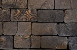 Grunge flooring nade of crosscut railroad ties Stock Photos