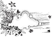 Grunge Flora. Vector of Black and white Grunge Flora composition Stock Photos