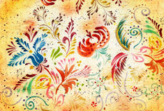 Grunge floral background. Flowers are carried out in folk style Stock Photography