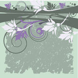 Grunge floral background. Floral background in purple, gray and white tones Empire style Stock Images