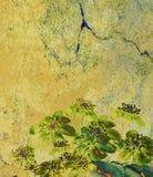 Grunge floral background. Grunge background with floral design, Hepatica flowers Stock Illustration