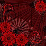 Grunge floral background. In red and black Royalty Free Stock Photography