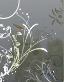 Grunge Floral Background. An illustrated background with a grunge floral design in gray and green colors royalty free illustration
