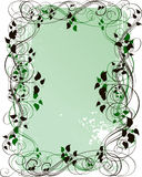 Grunge floral background. Green grunge floral frame with leaves Stock Photo