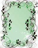 Grunge floral background. Green grunge floral frame with leaves vector illustration