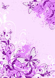 Grunge floral background. With butterflies Stock Photography