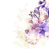 Grunge floral background with blue bells. And some pink flowers Royalty Free Stock Photo