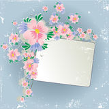 Grunge floral background with frame royalty free illustration