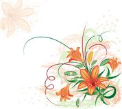 Grunge floral background with lilium, vector Royalty Free Stock Images